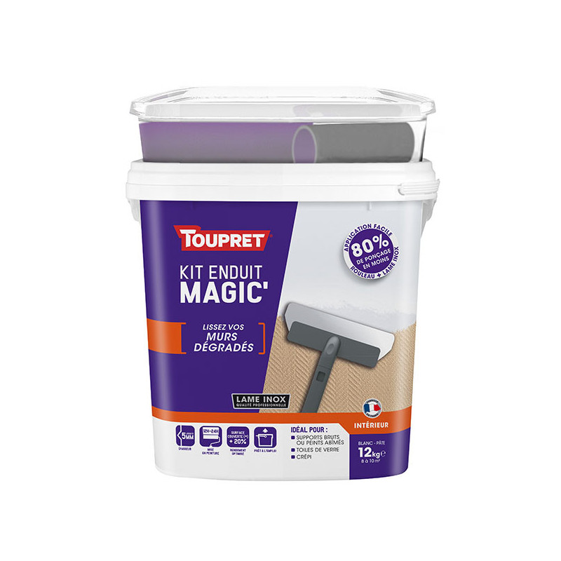 Enduit Magic'murs dégradés pâte TOUPRET gamme hautes performances 12kg + outils